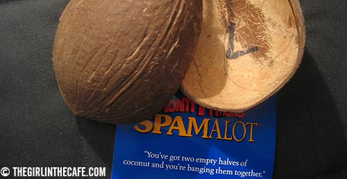You've got two empty halves of coconut and you're banging them together