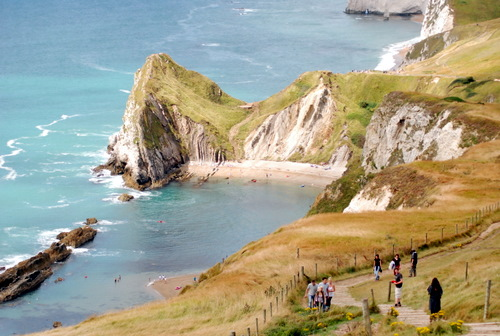 Dorset coast between Lulworth Cove and Durdle Door